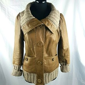 Mackage Domina Tan Leather Jacket Size L